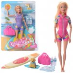 Лялька DEFA 8471 шарнірна, дошка для серфінгу, сумка, 2 кольори, лист, 23,5-33,5-6см.