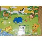 Дерев'яна рамка-вкладка пазли тварини, в кул.30-22-1,5см,