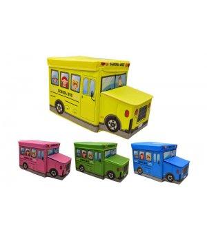 Корзини-пуфи для іграшок у вигляді автобуса