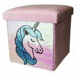 Коробка / пуф для іграшок єдиноріг з паєтками , голубий колір