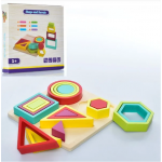 Дитяча Дерев'яна розвиваюча, навчальна Еко іграшка Геометрика - вчимо геометричні фігури 18 шт